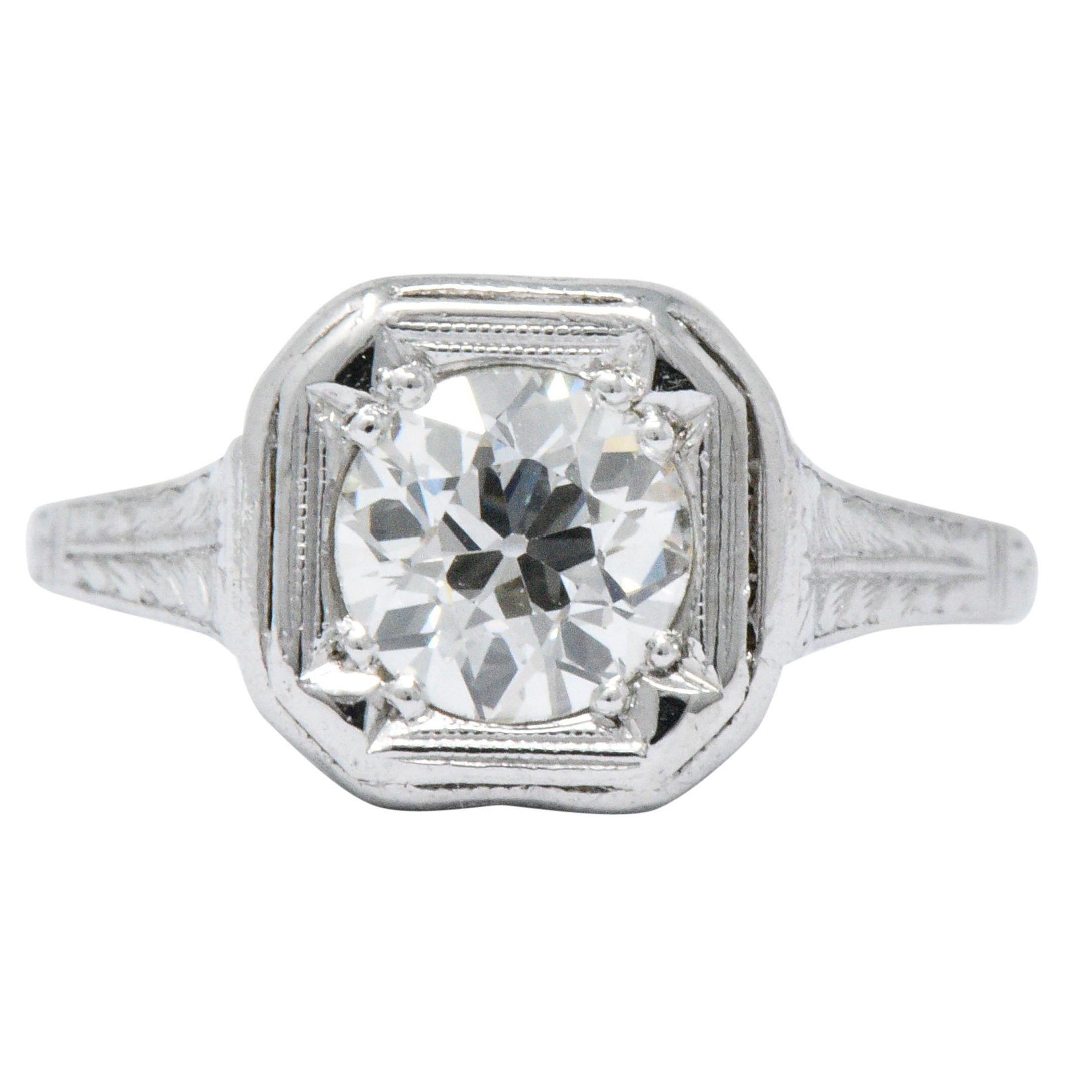 Art Deco 0.87 Carat Diamond Platinum Cushion Engagement Ring
