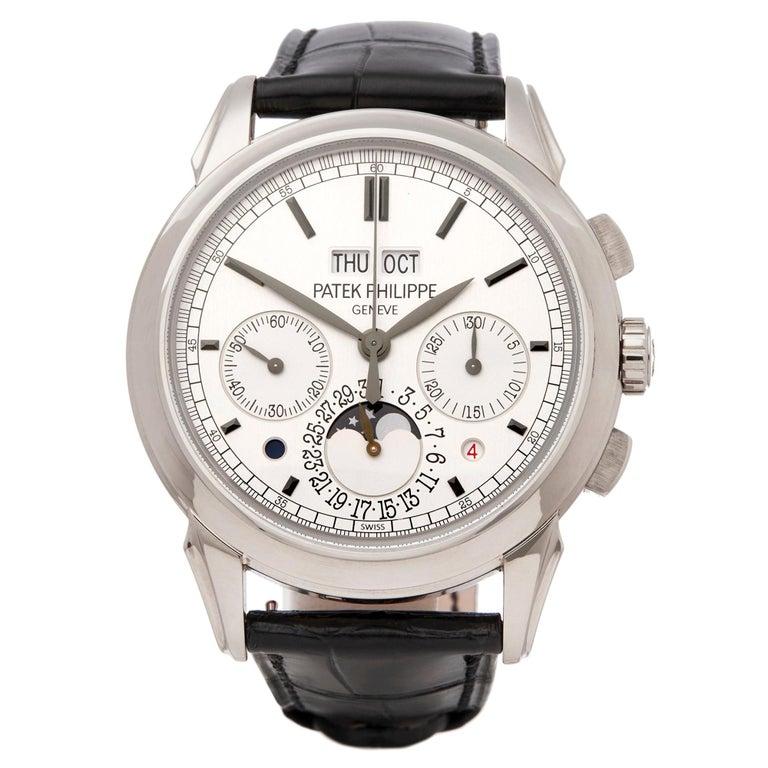 Patek Philippe Perpetual Calendar Chronograph 18K White Gold 5270G-001 Watch For Sale