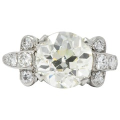 1930s 3.88 Carat Diamond Platinum Engagement Alternative Ring GIA