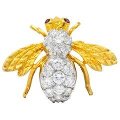 Rosenthal 1970s 2.00 Carats Diamond Ruby Platinum 18 Karat Gold Bee Bug Brooch