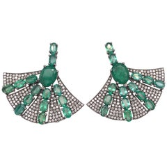 Ruchi New York Emerald and Diamond Fan Earrings