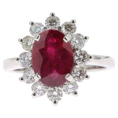 3.00 Carat Intense Red Ruby Cocktail Ring Set with Round White Diamond