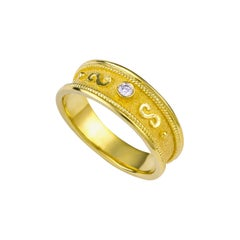 Georgios Collections 18 Karat Yellow Gold Diamond Band Ring with Granulation