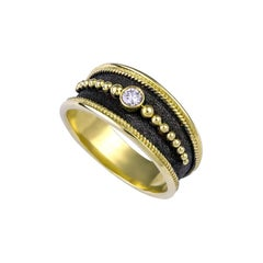 Georgios Collections 18 Karat Yellow Gold Diamond Band Ring with Black Rhodium