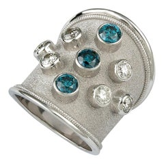 Georgios Collections 18 Karat White Gold Diamond Ring with Blue White Diamonds