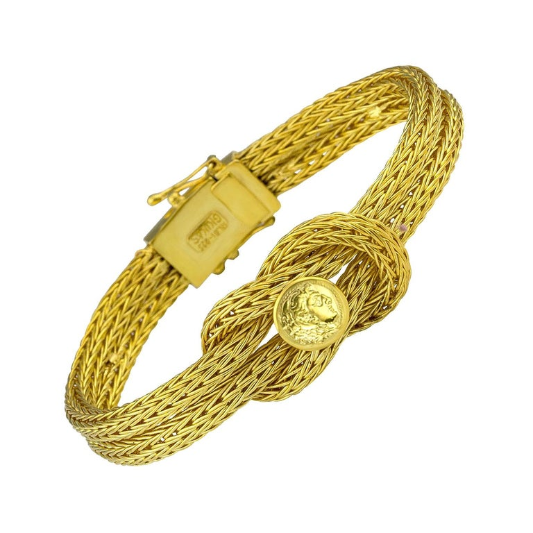 Georgios Collections 18 Karat Yellow Gold Rope Bracelet with Alexander Coin For Sale