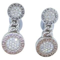 Bulgari 18 Carat White Gold and Diamond Tubogas Earrings