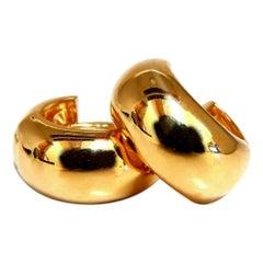 Gold Huggie Hoop Earrings 16 Karat
