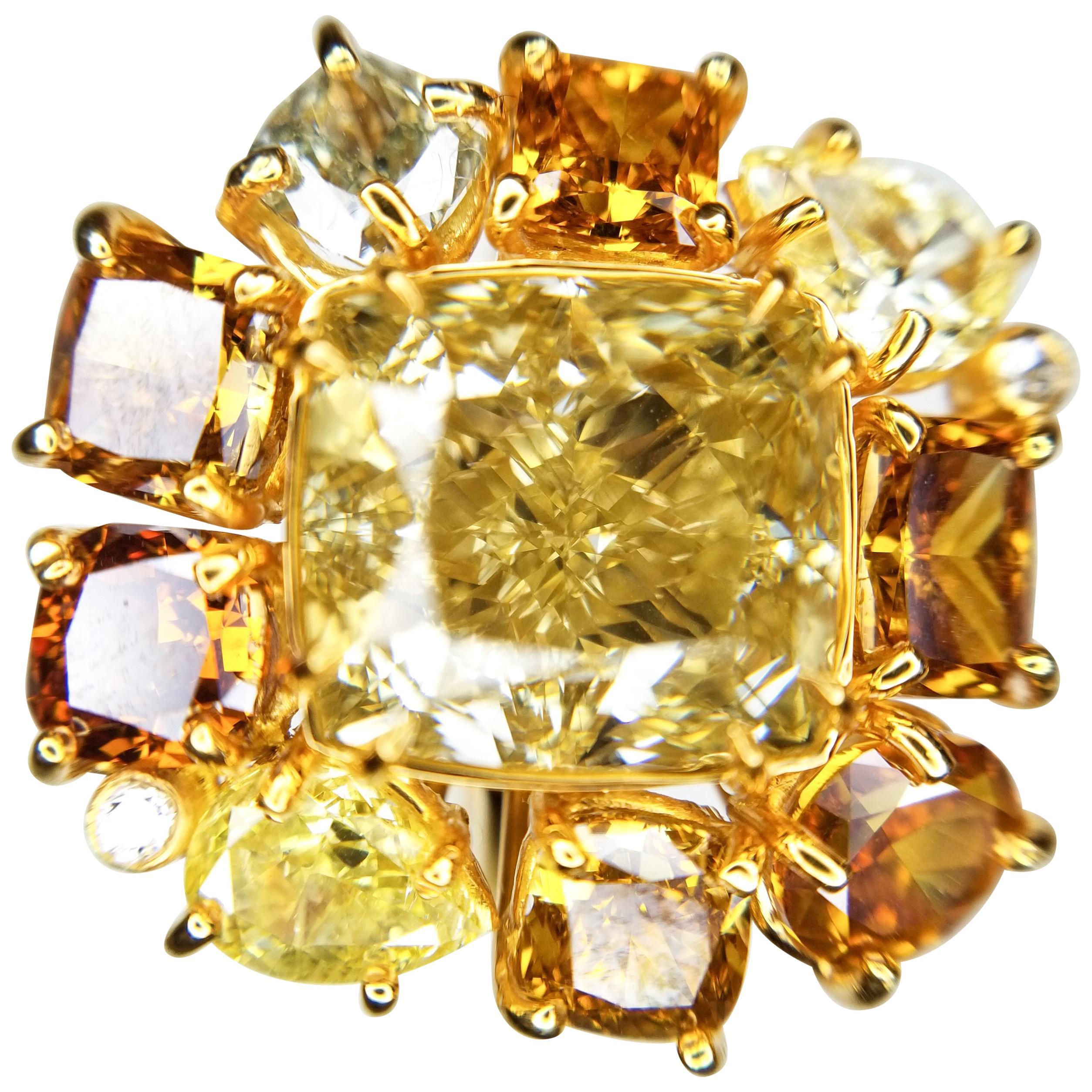 GIA Certified 6.52 Carat Fancy Brownish Yellow Cushion Cut Diamond Cocktail Ring