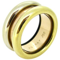 Poiray Three Gold Fashion Large Band Ring