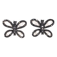 Ruchi New York Black and White Diamond Butterfly Studs