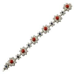 Red Corals, Diamonds, Blue Sapphires, 14 Karat White Gold Link Bracelet