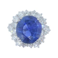 9.71 Carat Unheated Burmese Sapphire, Diamond and 18 Carat White Gold Ring