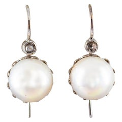 0.10 Carat White Rose Cut Diamond Mabe Pearl White Gold Lever-Back Earrings