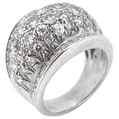 Retro Diamonds White Gold Pave Bombe Dome Fashion Cocktail Ring