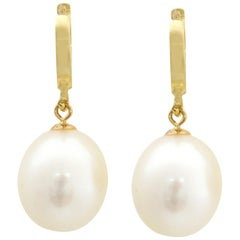 14 Karat Yellow Gold Huggy Style Teardrop Freshwater Pearl Hanging Earrings
