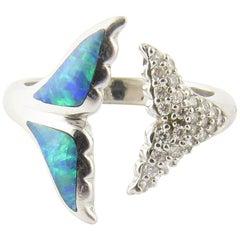 18 Karat White Gold Kabana Opal and Diamond Whale Tail Ring