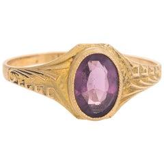Antique Deco Amethyst Ring 10 Karat Yellow Gold Pinky Child Vintage Fine Jewelry