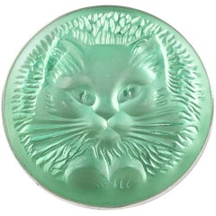 Lalique Green Frosted Glass Pussy Cat Brooch