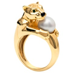 Cartier Panthere Women's Yellow Gold Pearl Ring