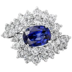 Oval Cut Blue Sapphire and Diamond Cocktail Ring