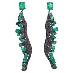 Ruchi New York Emerald and Black Diamond Drop Chandelier Earrings