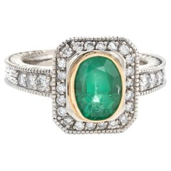 Vintage Emerald Diamond Ring 14 Karat White Gold Square Cocktail Jewelry