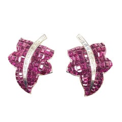 White Gold and Invisible Set Ruby Leaf Form Earrings