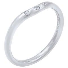 Tiffany & Co. 18 Karat White Gold Curved Diamond Band