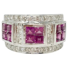 White Round Brilliant Diamond And Pink Sapphire Cocktail Ring In 18K White Gold.