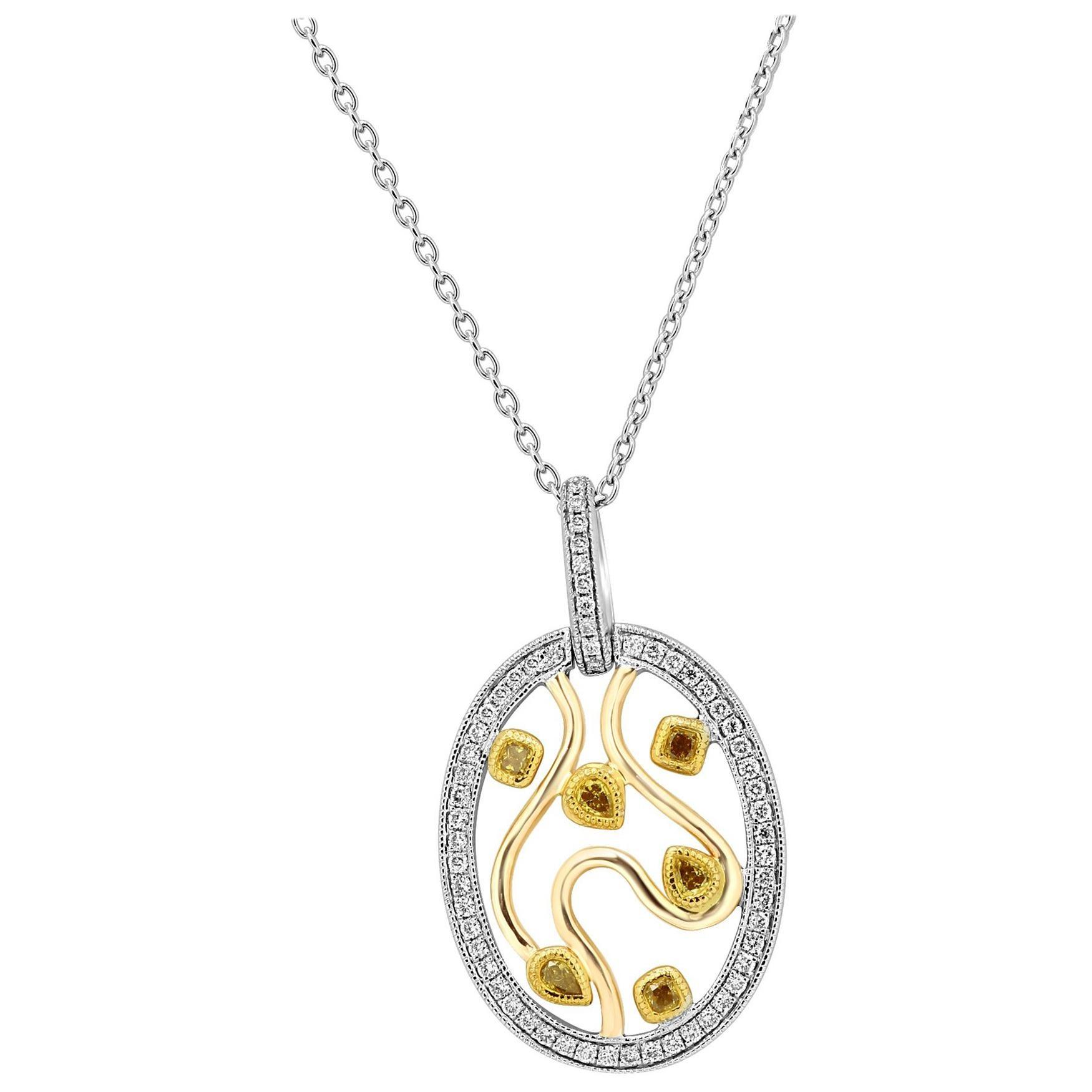 Natural Fancy Color Diamond Three-Color Gold Medallion Pendant Necklace
