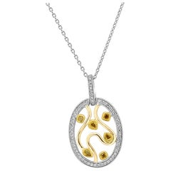 Natural Fancy Color Diamond Three-Color Gold Medallion Pendant Necklace