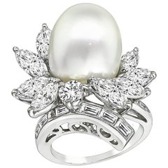 Vintage Diamond Pearl Platinum Cocktail Ring