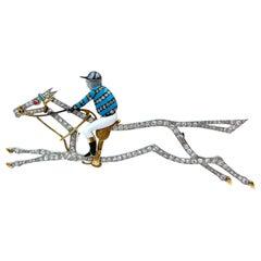 Large Edwardian Diamond Enamel Race Horse Jockey Brooch