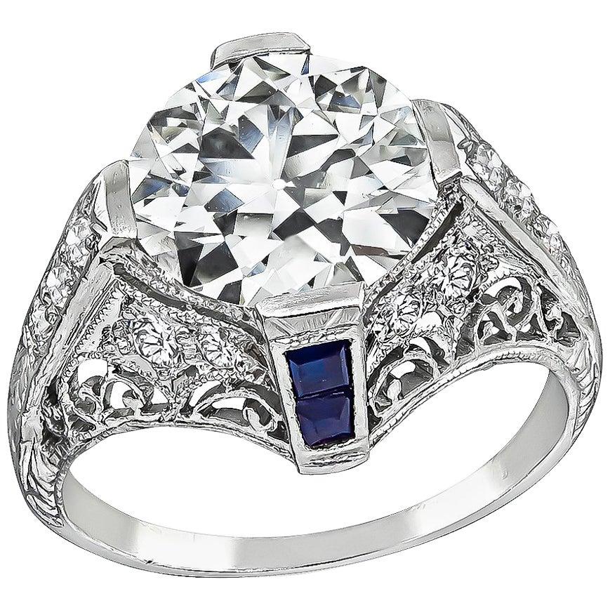 Vintage GIA Certified 2.52 Carat Diamond Platinum Engagement Ring