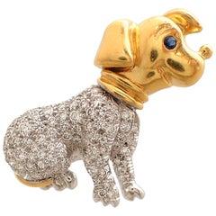 Diamond and Sapphire Dog Pin in 18 Karat Yellow Gold