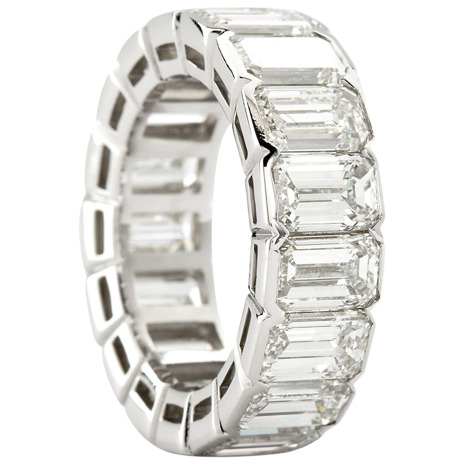 Platinum Emerald Cut Diamond Eternity Band 17 Diamonds 12.00 Carat GIA Certified