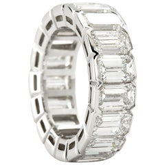 Platinum Emerald Cut Diamond Eternity Band 17 Diamonds 12.00 Carat GIA Certified
