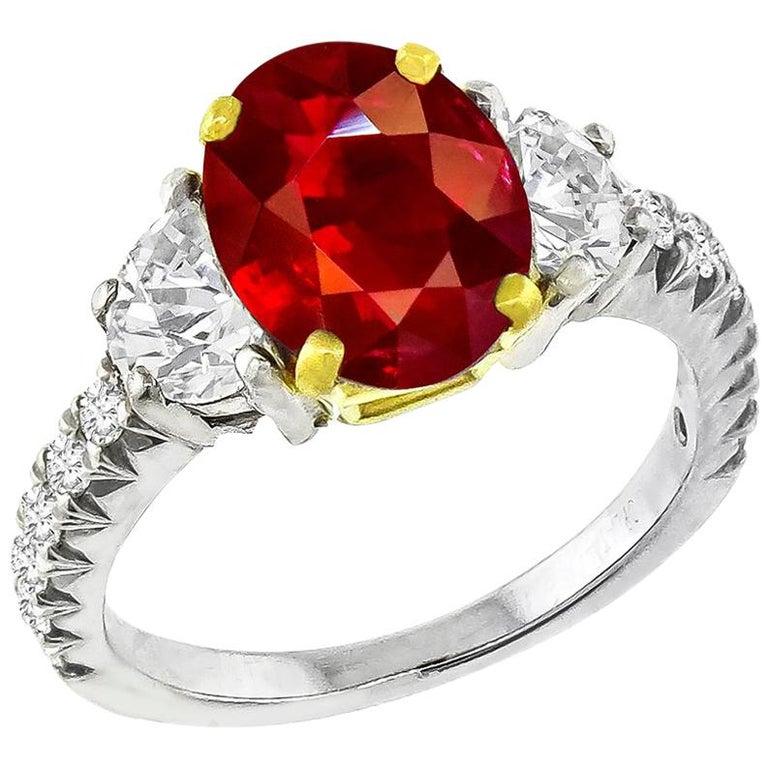 3.02 Carat Ruby Diamond Platinum Ring For Sale