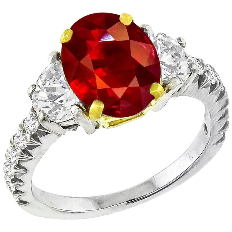 3.02 Carat Ruby Diamond Platinum Ring
