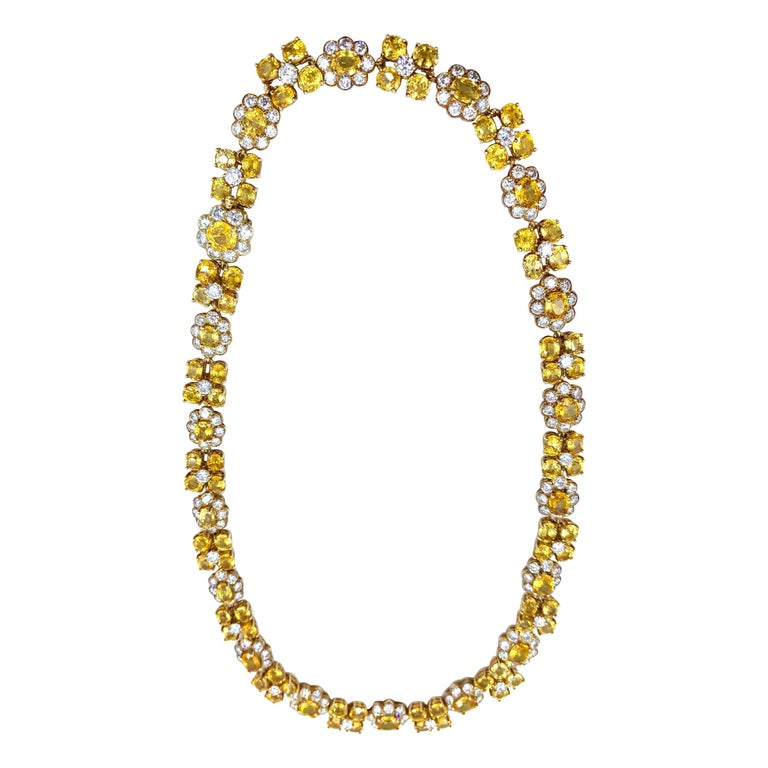 Van Cleef & Arpels Natural Yellow Ceylon Sapphire and Diamond Necklace For Sale