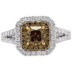 Natural Champagne Radiant Diamond Double Halo Two-Color Gold Bridal Fashion Ring