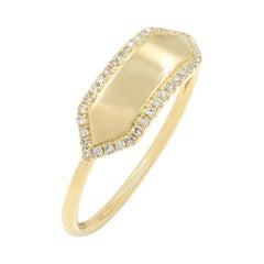 Diamond Name Plate 14 Karat Yellow Gold Engravable Ring 0.11 Carat