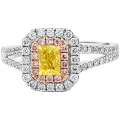 Natural Fancy Vivid Yellow Double Halo Three-Color Gold Bridal Engagement Ring