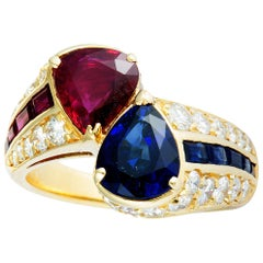 Diamond, Sapphire and Ruby Yellow Gold Bypass Ring