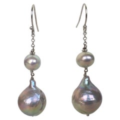 Marina J Double Grey Round and Baroque Pearl Earrings with 14 K Gold Hooks