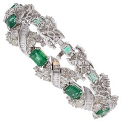 9.43 Carat Total Emerald Cut Emerald and Diamond Bracelet in 18 Karat White Gold