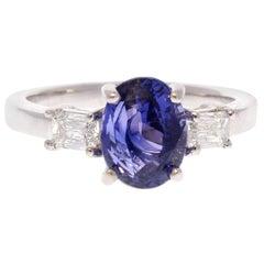 2.55 Carat Oval Sapphire & Baguette Diamond Cocktail Ring in 18 Karat White Gold