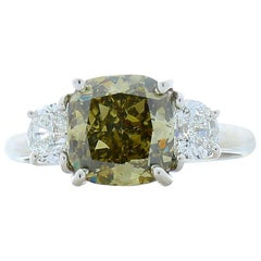 GIA Certified 2.51 Carat Cushion Cut Fancy Greenish Yellow Diamond Cocktail Ring