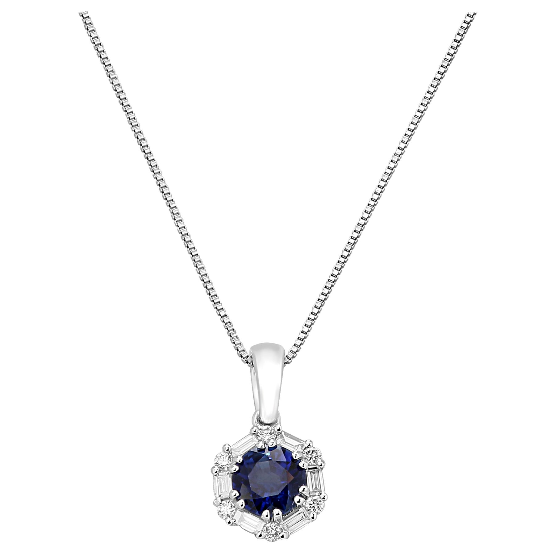 Blue Sapphire Diamond Halo Gold Drop Pendant Chain Necklace